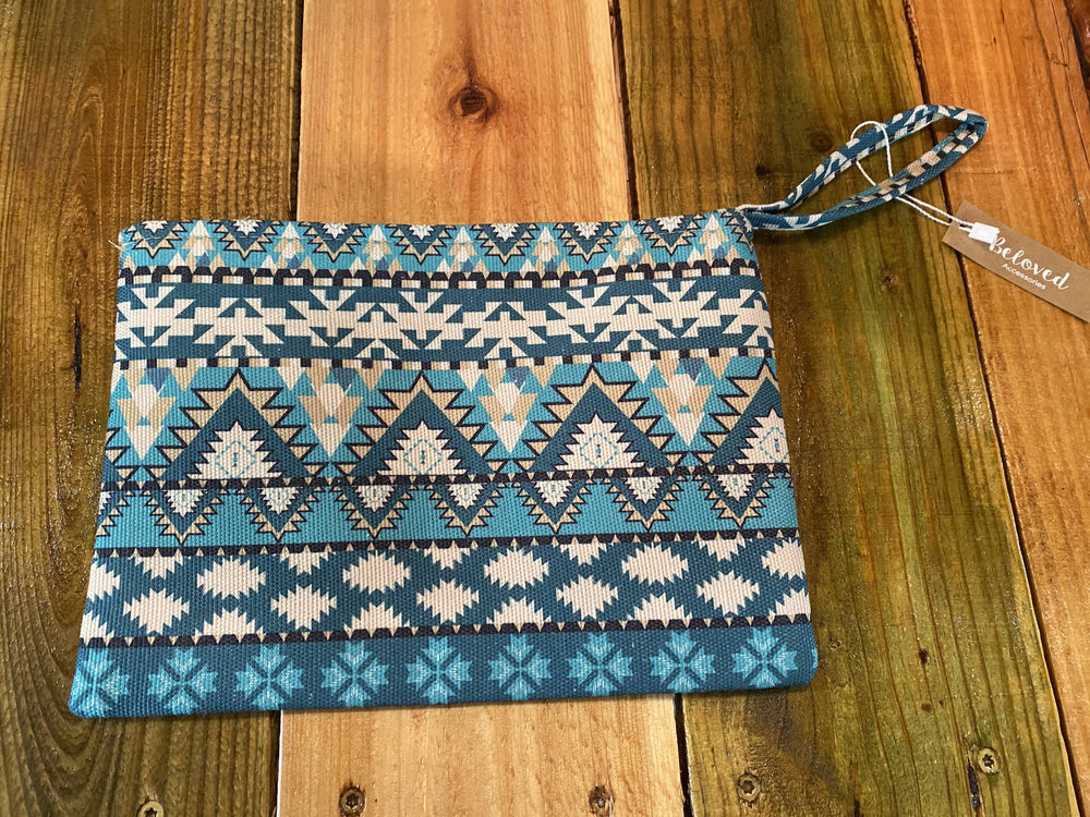 Blue Aztec Wristlet/Makeup Bag