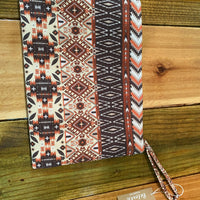 Red Orange Aztec Wristlet/Makeup Bag