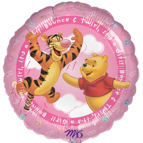 Foil Round Winnie The Pooh Bounce It's A Girl Balloon |18""