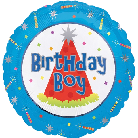 Foil Round Blue Birthday Boy Balloon | 18""
