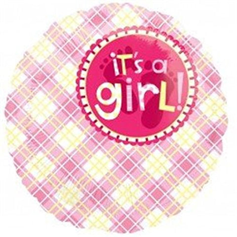 Foil Round Plaid It's A Girl Balloon |18""