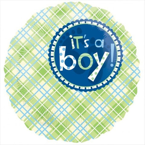 Foil Round Plaid It's A Boy Balloon |18""