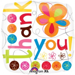 Thank You Colourful Flowers S40 Foil Square Balloon | 18""