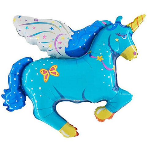 Foil Flying Unicorn Blue Balloon | 44""