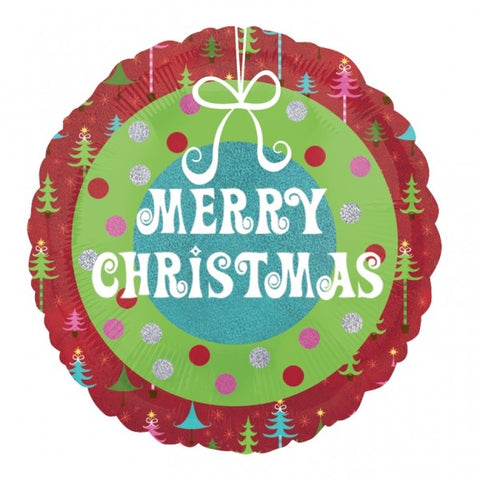 Foil Round Merry Christmas Wreath Balloon | 18""