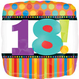 Foil Shape Birthday Dots & Stripes Balloons | 18in