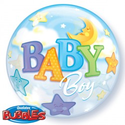 Bubble Message - Baby Boy Moons & Stars Balloon | 22""