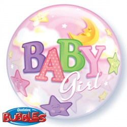 Bubble Message - Baby Girl Moons & Stars Balloon | 22""