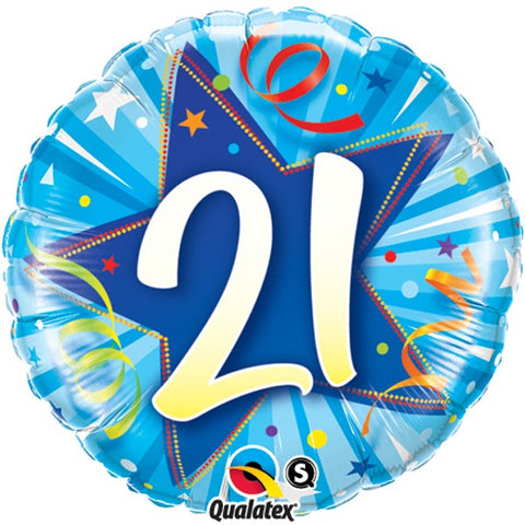 21st Birthday Blue Foil Balloon | S40