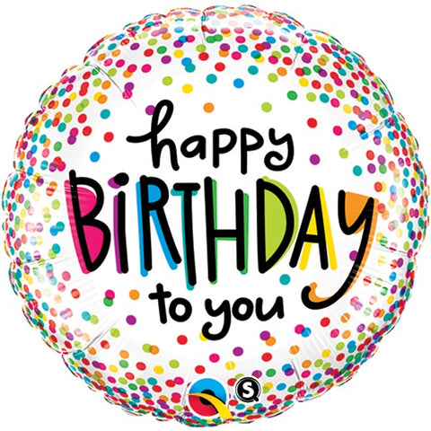 Rainbow Confetti Dots 'Happy Birthday to you' Foil Balloon | 18""