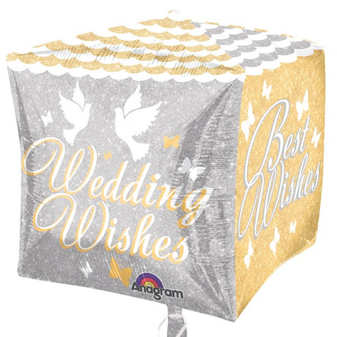 Wedding Wishes Cubez Balloon | 15""