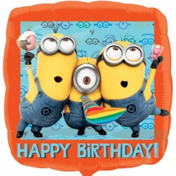 Foil Square Minions Birthday Balloon | 18""