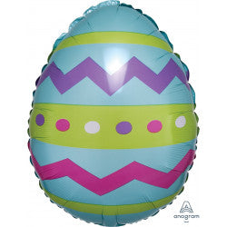 Foil Shape Easter Egg Stripes Chevrons Balloon S40 | 18""