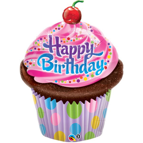 Foil Shape Birthday Frosted Cupcake Balloon B | 35""