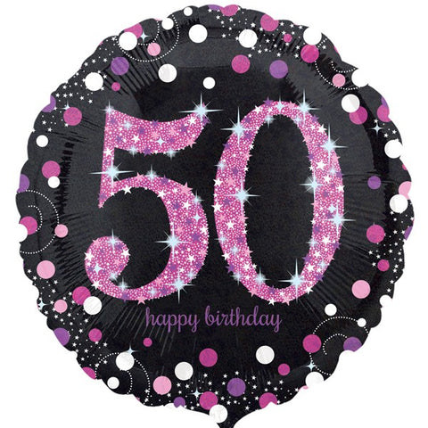 Pink and Black Sparkle 50th Birthday Foil Balloon | S40