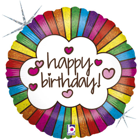Retro Rainbow Happy Birthday Foil Balloon | P40 | 18""
