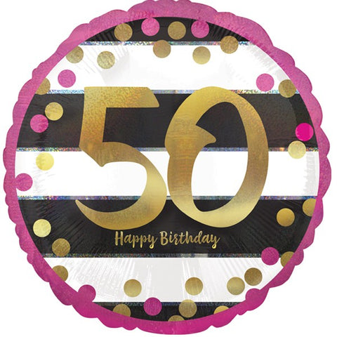 Pink, Gold and Black Striped 50th Birthday Foil Balloon | S40