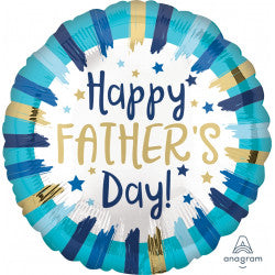 Foil Round Painted Stripes Happy Father's Day Balloon |18""