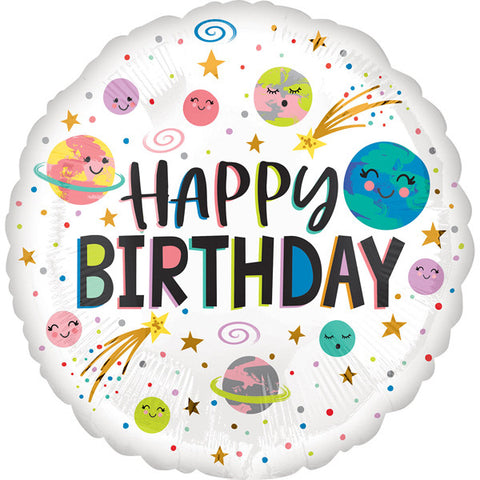 Space 'Happy Birthday' Foil Balloon | S40 | 18""