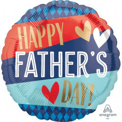 Foil Round Stripes Happy Father's Day Balloon |18""