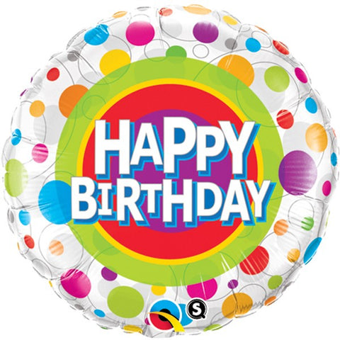 Happy Birthday Colourful Dots Foil Balloon  | 18"