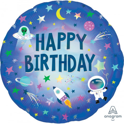 Blue Space 'Happy Birthday' Foil Balloon | S40 | 18""