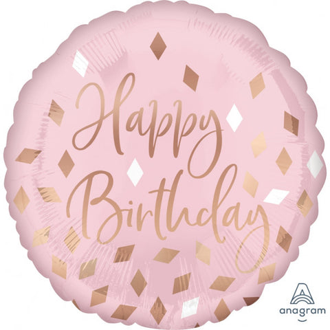 "18"" Pink and Gold Confetti Happy Birthday Foil Balloon S40"
