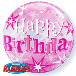 Bubble Message Birthday Pink Starburst Balloon | 22""