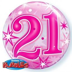Bubble Message 21 Pink Starburst Balloon | 22""