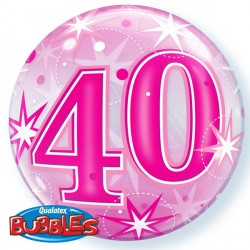 Bubble Message 40 Pink Starburst Balloon | 22""