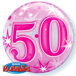 Bubble Message 50 Pink Starburst Balloon | 22""
