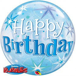 Bubble Message Birthday Blue Starburst Balloon | 22""