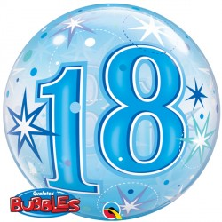 18 Bubble Message - Blue Starburst Balloon | 22""
