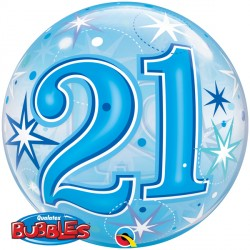 Bubble Message - 21st Blue Starburst Balloon | 22""