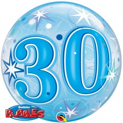 Bubble Message - 30th Blue Starburst Balloon | 22""
