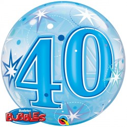Bubble Message-  40th Blue Starburst Balloon | 22""