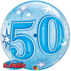Bubble Message - 50th Blue Starburst Balloon | 22""