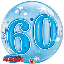Bubble Message - 60th Blue Starburst Balloon | 22""