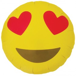 Foil Round Heart Eyes Emoji Balloon | 18""