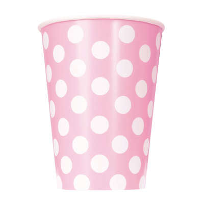 Lovely Pink Dots Paper 12oz Cups | Pack of 6