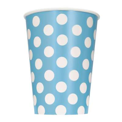 Powder Blue Dots Paper 12oz Cups | Pack of 6