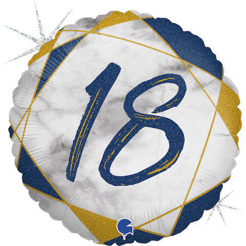 Navy Blue and Gold 18th Marble Foil Balloon | S40