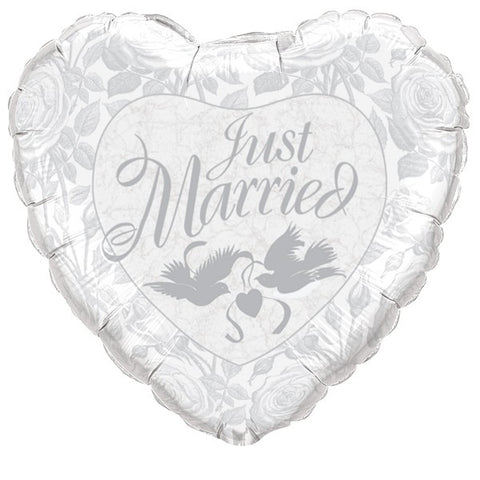 Foil Shape Heart Just Married Balloon P30