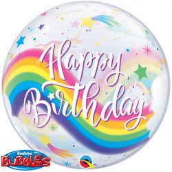 Bubble Message Birthday Unicorns Rainbow Balloon | 22""