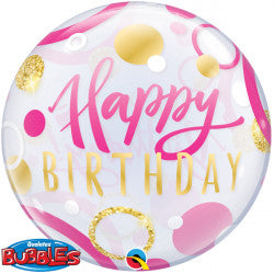 Bubble Message Birthday Pink & Gold Dots Balloon | 22""