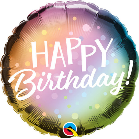 Rainbow Ombre Happy Birthday Foil Balloon  | 18"