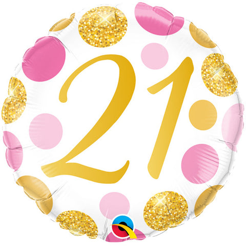 Gold/Pink 21st Birthday Foil Balloon | S40