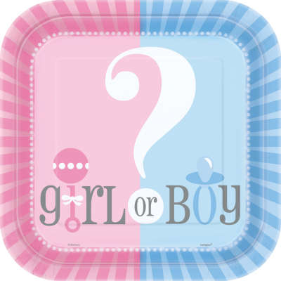 "Gender Reveal 9"" Square Plates 
