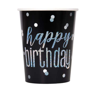 Glitz Black Happy Birthday 9oz Cups | Pack of 8