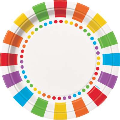 "Rainbow 9"" Plates 